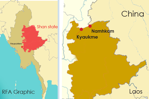 The map shows Namhkam and Kyaukme townships in northern Myanmar's Shan state.