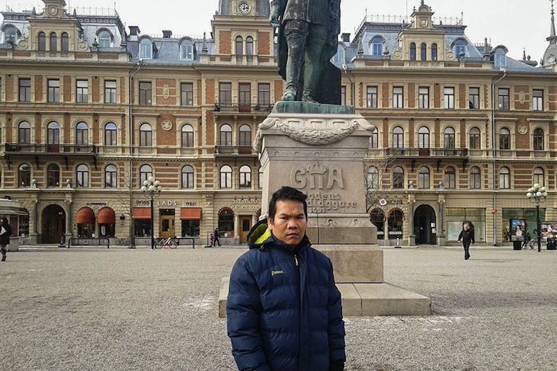 Soeung Hai poses in Ostersund, Sweden, last month, in a photograph posted to his Facebook page.