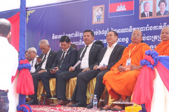 CNRP lawmakers (L-R) Sok Oumsea, Kong Saphea, Long Ry, and Ho Vann seated at a Wat Chas ceremony on Saturday to mark the 68th anniversary of France's transfer of its Cochinchina colony to Vietnam. Alex Willemyns