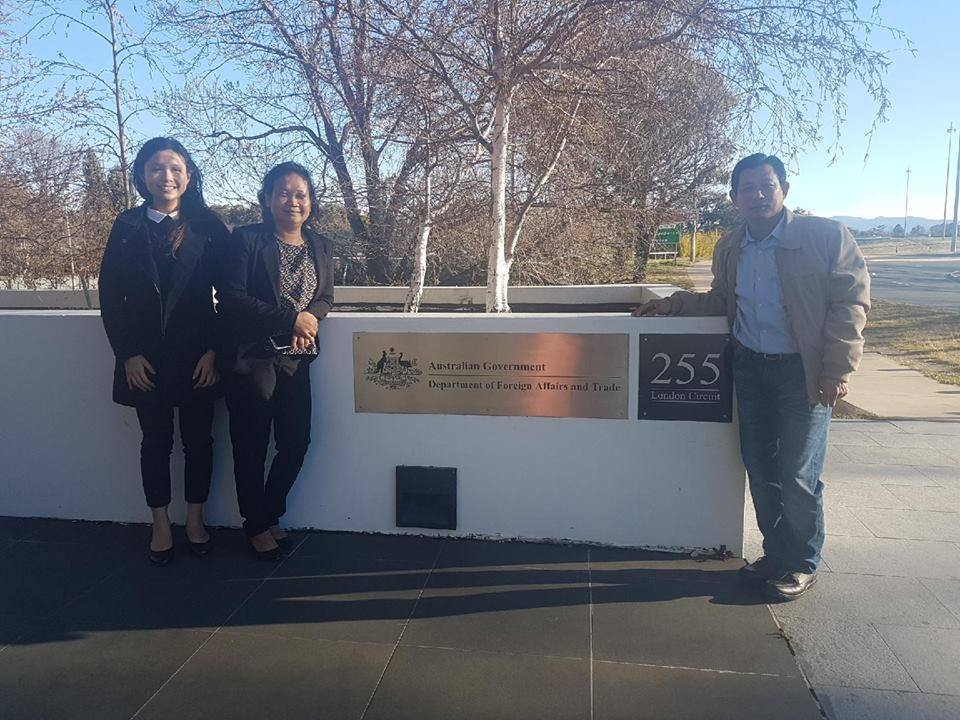 KKF Delegation in front of DFAT (from left: Miss Kimkatriny Suos, Mrs. Nga T. Tran, and Mr. Thanh Tan Ly)