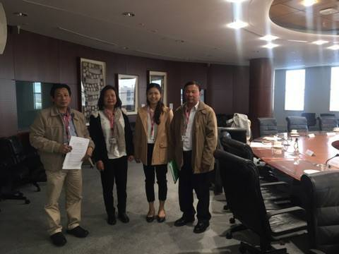 KKF Delegation at the meeting room of the CSO consultation (from left, Mr. Thanh Tan Ly, Ms. Nga T. Tran, Miss Kimkatriny Suos, and Mr. Sarinh Suos)