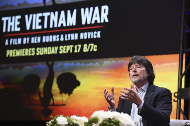 "Ken Burns participates in the ""The Vietnam War"" panel during the PBS portion of the 2017 Summer TCA's at the Beverly Hilton Hotel in Beverly Hills, Calif., July 30, 2017. Photo: VOA"